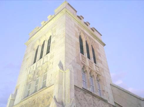 山手聖公会の大谷石でできた塔写真 《横浜山手聖公会の大谷石でできた塔写真》 横浜山手聖公会周辺地